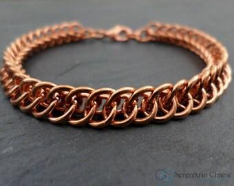 Men's Copper Bracelet - Solid Pure Copper Bracelet - Unisex Copper Bracelet - Natural Copper Chainmail Bracelet - Simple Copper Jewelry