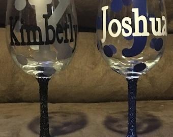 Custom Monogram Wine Glasses Set -Glitter Stems and Many Color Options