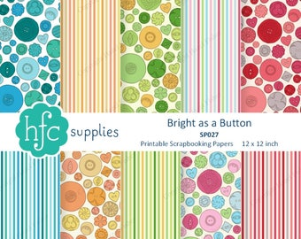 Bright Button Digital Papers - Printable Scrapbooking Paper set, sewing notion, hand drawn vintage button patterns - Instant Download SP027