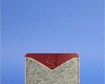 Minimalist felt card holder Felt card case Leather felt card case Wool felt card case Simple felt wallet Wool felt card holder