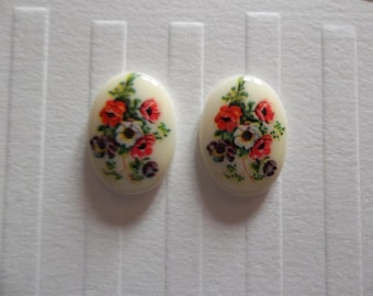 Vintage Decal Picture Stone Cameos - Red Blue & White Floral Cabochons Ivory Background White Base 18 X 13mm - Qty 2