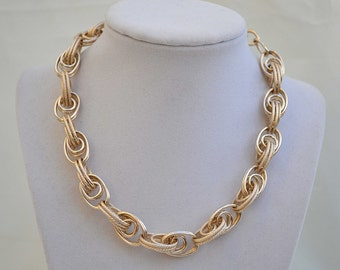 Gold Chain Choker, Link Necklace, Vintage Choker, 1970's Necklace, Vintage Gold Chain, Chain Necklace, Gold Link Necklace, Goldtone Choker