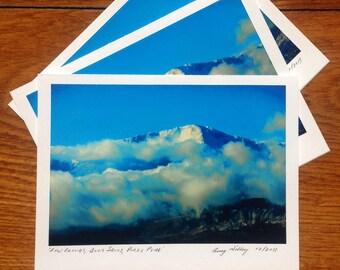 Low Clouds, Blue Skies, Pikes Peak, Photo Art Card