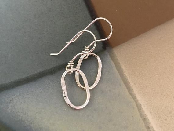 Small Silver drop earrings, oval, dangle fine silver, hoop, simple earrings