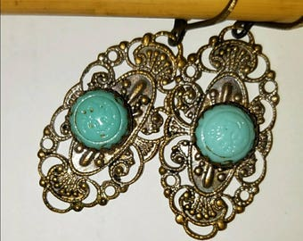 Vintage filigree brass and turquoise blue glass