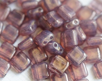 6mm CzechMates Tile Beads - Moon Dust - Milky Pink - Picasso Czech Glass Beads - Two Hole Tile Beads - Bead Soup Beads