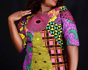 African patchwork top/African print top/African crop top/African top/African print blouse/African clothing/ Women's clothing