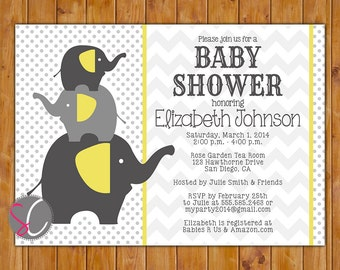 Polka Dots Baby Shower Invitation Elephant Baby Shower Invitation gender neutral Grey Yellow Baby Shower Invites Stacked Elephants (151)