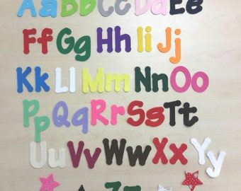 Lollipop Font Iron on Die Cut Felt Letters / Numbers , Choice of 26 Colours, Uppercase & Lowercase
