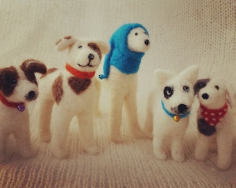 Needle felted dog portrait miniature 3D wool felt animal custom replica