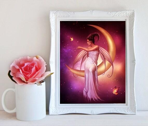 pink fairy on the moon art print