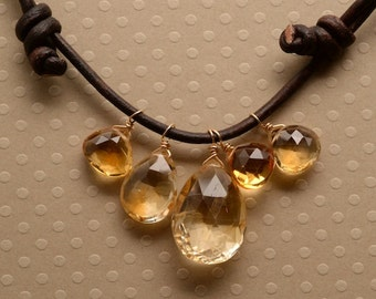Citrine Necklace, Faceted Citrine Necklace, Healing Gemstone Necklace, November Birthstone