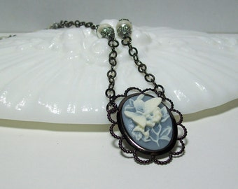 Blue Butterfly and Pearls Necklace. Butterfly Cameo Necklace. Gunmetal Chain Necklace.