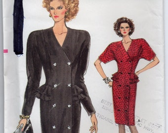 Close Fitting Straight Double Breasted Dress Side Front Seams Peplum Size 6 8 10 Sewing Pattern 1987 Very Easy Vogue 7060