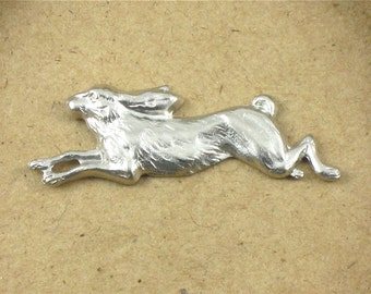 3 silver leaping RABBIT jewelry embellishments . 40mm x 14mm (FF4)