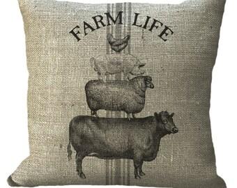Grainsack Stripe Farm Life Cow Sheep Pig Chicken in Choice of 14x14 16x16 18x18 20x20 22x22 24x24 26x26 Inch Pillow Cover