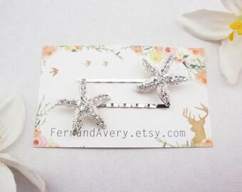 Choose rose gold, gold or silver crystal starfish hair pins. 2 starfish bobby pins. Beach wedding hair pins