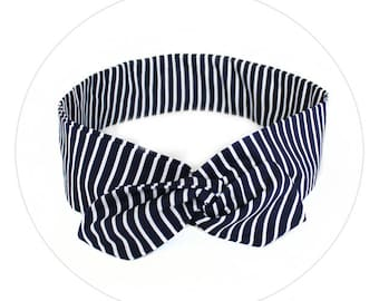 Navy Blue Striped  - Headband Flexible Wire