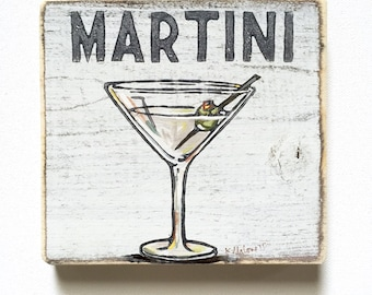 Martini: Wood Sign, New Orleans Art, New Orleans Gift, Cocktail Art, French Quarter, Home Bar Art, Martini Art