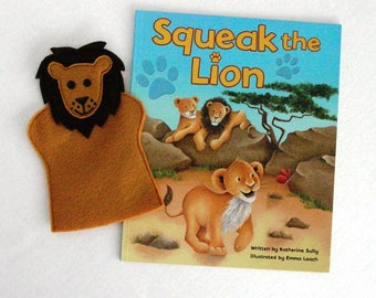 Lion Hand Puppet and Book Set, Birthday Party Favor