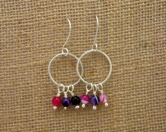 Sterling Silver Earrings with Pink and Purple Agate Beads
