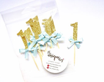 Number Cupcake Toppers 12CT, gold birthday party decorations, birthday cupcake toppers , first birthday decor