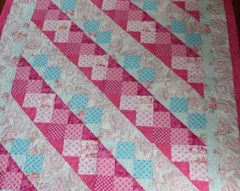 Baby quilt for girls, Baby Girl baby quilt, Baby girl blanket, handmade baby quilt, Pink baby quilt,Aqua baby quilt, floral baby quilt