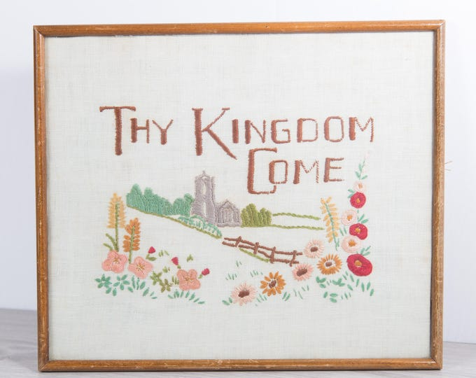 Biblical Artwork - Framed Embroidered Cross Stitch Thy Kingdom Come Fabric Art Tapestry with Church and Field of Flowers - Jesus The Bible