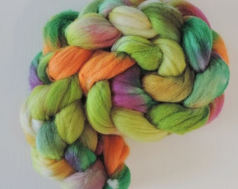 merino silk,Spring Meadow, top, handdyed fiber for spinning,