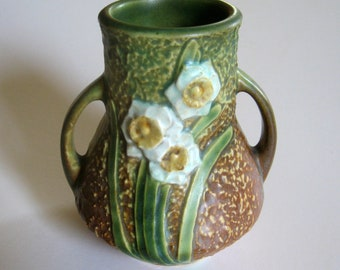 Vintage Small Roseville Jonquil Vase 580-4 -  Flower Bud Vase - Weed Pot - Early 1930s