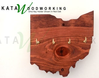 Ohio Wood Cut-Out Key Holder - Handmade - Wall Mount