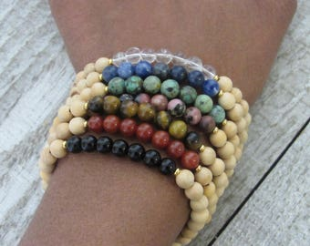 7 Chakra Bohemian / Boho Seven Stack Bracelet Set