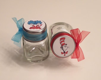 24 Cat in the Hat, Thing 1 & Thing 2 Baby Shower/Birthday Party Candy Jar Favors