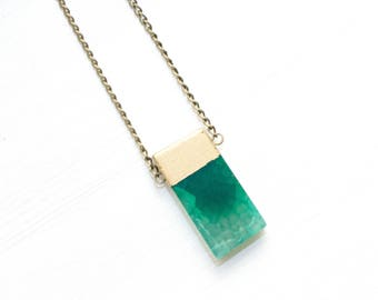 Green Stone Necklace, Gold Dipped Stone Necklace, Green Agate Necklace, Green Gemstone Necklace, Gemstone Jewelry, Layering Necklace