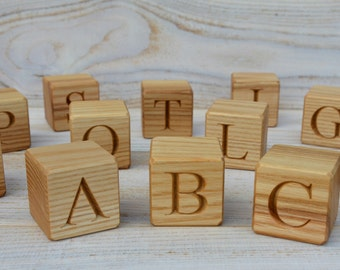 20 Large Wooden Alphabet Blocks, English ABC Blocks, Personalized Engraved Letter Cube, Baby Shower Gift, Ash Cubes