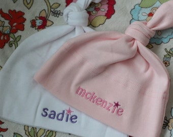 Personalized Twins Baby Girl Hats - FREE SHIPPING -  American Apparel Knot Hat with Embroidered twin names