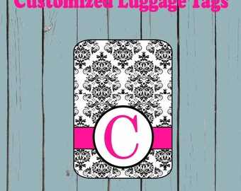 Damask Monogram  Luggage Tag - Luggage Tag Monogrammed