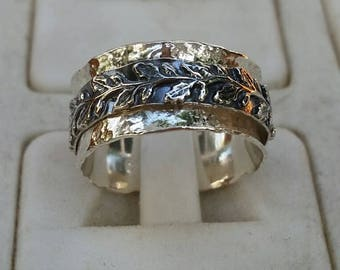 Silver Spinner Ring ,Leaves Silver Ring ,Unisex Spinner Ring ,Wedding Silver Spinner Ring ,Bride And Groom Wedding Band ,Mother's Day Gift