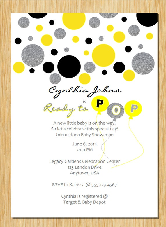 Yellow gray black silver ready to pop baby shower invitation filmwisefo