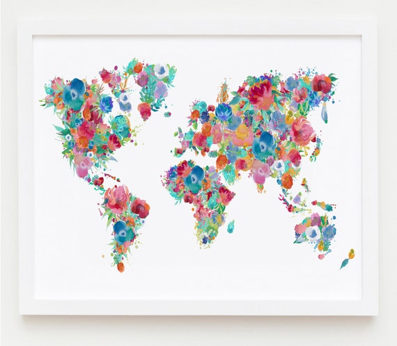 Floral nursery printable world map poster floral map print gumiabroncs Gallery