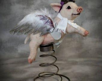 Steampunk When Pigs Fly Spring Loaded Piglet OOAK  Needle Felted  Artist Doll Bear