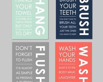 Funny Bathroom Wall Art, Kids Bathroom Decor, Bathroom Wall Art, Coral, Mint, Grey, Bathroom Printable, Art for Bathroom, Wash, Flush, Brush