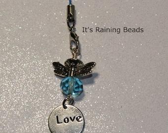 Love - Aqua Blue Guardian Angel Charm