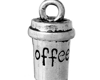 "10 3D Charm Pendants Cup Antique Silver Message "" COFFEE "" Carved 15mm (B30i)"