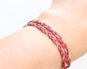 Gold plated bracelet Fez and cotton yarn Red Desert