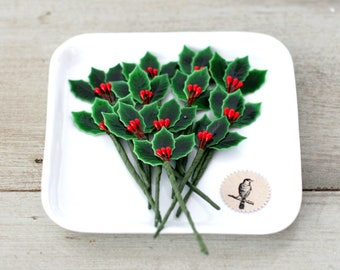 Millinery Vintage Style Lacquered Holly Leaves with berries - Holly Picks