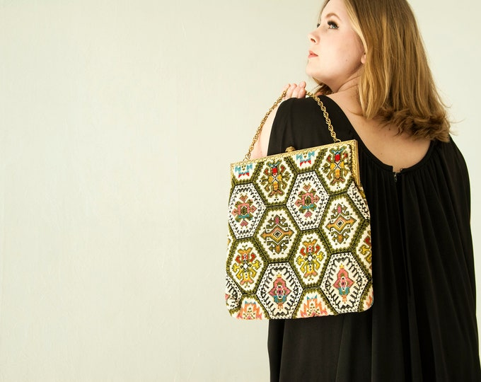 Vintage large geometric tapestry purse, 1960s black green white colorful patchwork needlepoint gold chain handbag