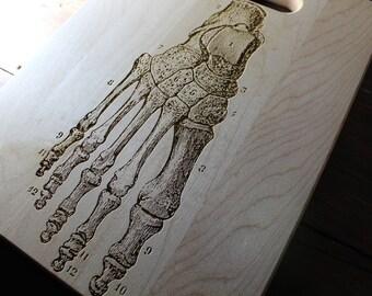 Personalized Human Foot Cutting Board, Vintage Anatomy, Orthopedic Surgeon, Orthopedics Nurse, Doctor Gift, Skeleton, Physician Gifts, Ortho