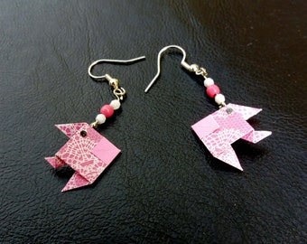 Earrings pink origami fish