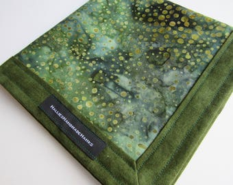 Moss Green and Gold Batik Fabric Handmade Hank EDC Hank Everyday Carry Pocket Dump Hank Mens Handkerchief Gift for Him Groomsmen Gift
